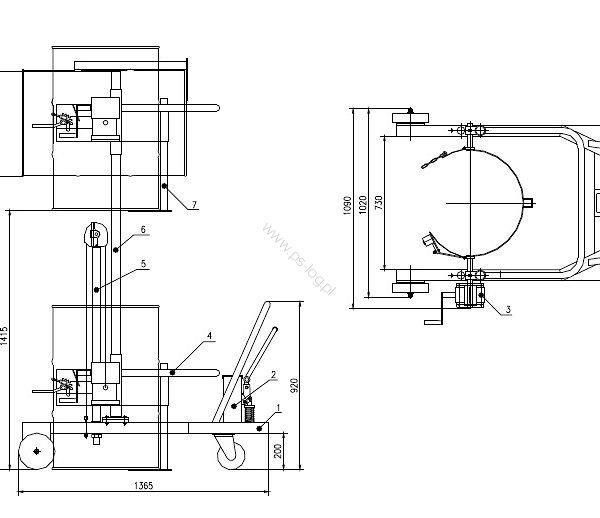 Wózek podnośnikowy ręczny do beczek plastikowych PS-WB30