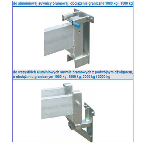 Suwnica bramowa aluminiowa stacjonarna, udźwig 2000 i 3000 kg