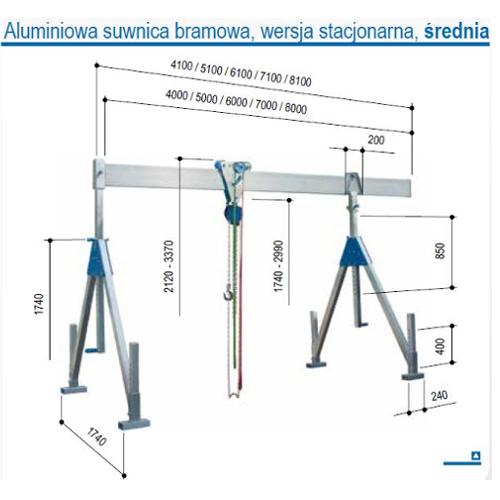 Suwnica bramowa aluminiowa stacjonarna, udźwig 1000 i 1500 kg