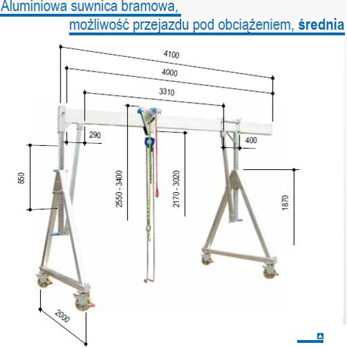 Suwnica bramowa aluminiowa z możliwością przejazdu z podwieszonym ładunkiem, udźwig 1000 i 1500 kg