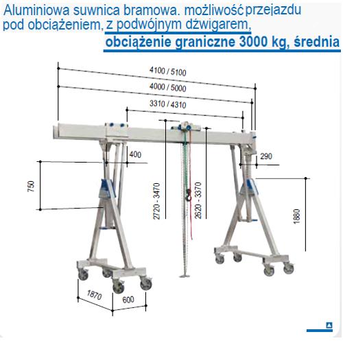 Suwnica bramowa aluminiowa z możliwością przejazdu z podwieszonym ładunkiem, udźwig 2000 i 3000 kg